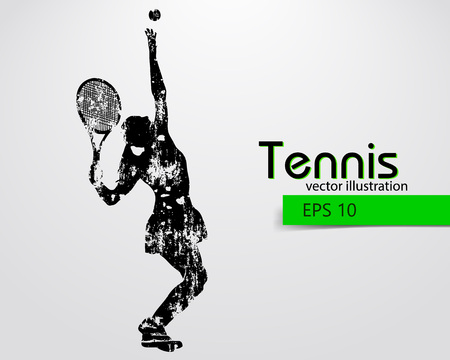 changed: Silhouette of a tennis player. Text and background on a separate layer, color can be changed in one click. Illustration