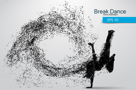 Silhouette of a break dancer from particles. Background and text on a separate layer, color can be changed in one click. Illustration