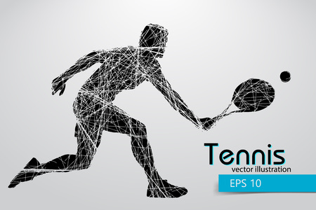 Silhouet van een tennisser. Tekst en achtergrond op een aparte laag, kleur kan worden veranderd in een klik.