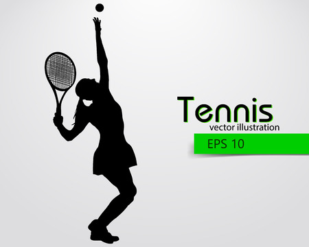 Silhouette of a tennis player. Text and background on a separate layer, color can be changed in one click. Ilustração