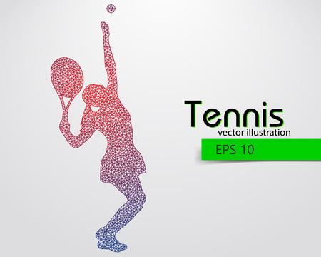 Silhouet van een tennisser uit driehoeken. Tekst en achtergrond op een aparte laag, kleur kan worden veranderd in een klik. Vector Illustratie