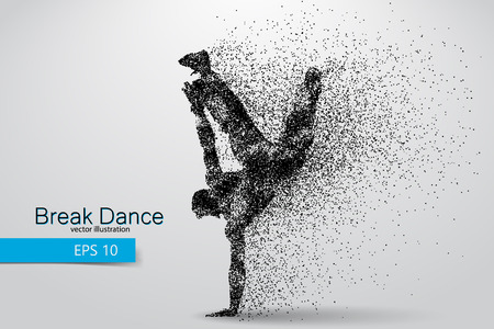 break in: Silhouette of a break dancer from particles. Background and text on a separate layer, color can be changed in one click. Illustration