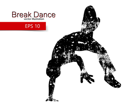 break in: Silhouette of a break dancer. Background and text on a separate layer, color can be changed in one click.