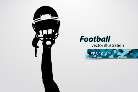 football helmet and hand silhouette. Background and text on a separate layer, color can be changed in one click. Rugby. American football