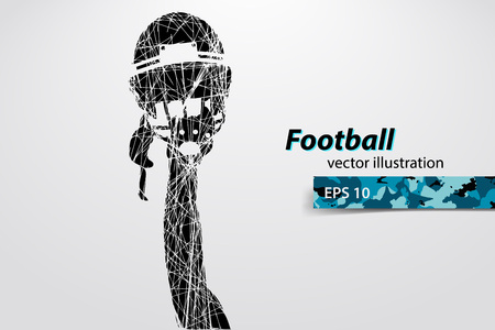 changed: football helmet and hand silhouette. Background and text on a separate layer, color can be changed in one click. Rugby. American football