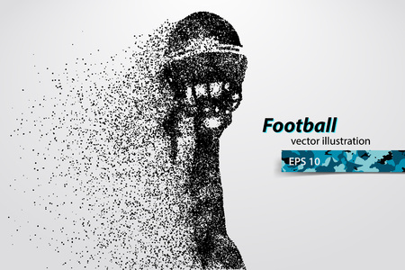 silhouette of a football helmet and hand from particles. Background and text on a separate layer, color can be changed in one click. Rugby. American football Ilustração