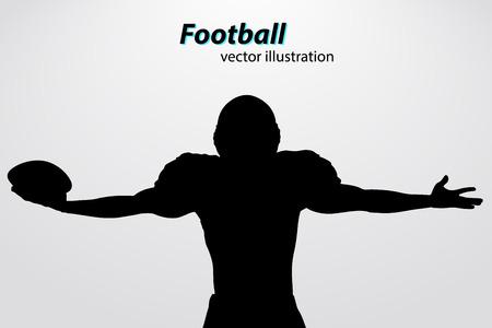 Silhouette d'un joueur de football. Contexte et texte sur une couche séparée, couleur peut être changée en un seul clic. Le rugby. Football américain Banque d'images - 67776449