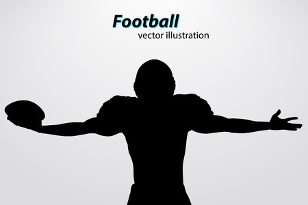 silhouette of a football player. Background and text on a separate layer, color can be changed in one click. Rugby. American football