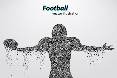 changed: silhouette of a football player from triangle. Background and text on a separate layer, color can be changed in one click. Rugby. American football Illustration