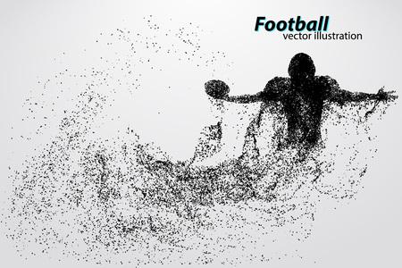 粒子からのフットボール選手のシルエット。別のレイヤーの背景とテキスト色をワンクリックで変更できます。ラグビー。アメリカン フットボール
