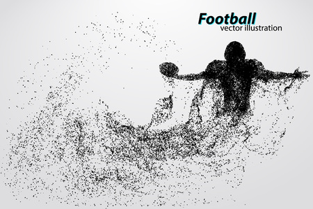 silhouette of a football player from particle. Background and text on a separate layer, color can be changed in one click. Rugby. American football Stock fotó - 67776454