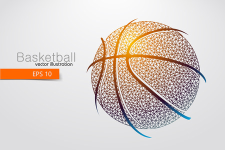 basketball dunk: Silhouette of a basketball ball from triangles. Background and text on a separate layer, color can be changed in one click Illustration