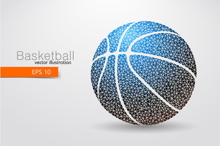Silhouette of a basketball ball from triangles. Background and text on a separate layer, color can be changed in one click Illustration