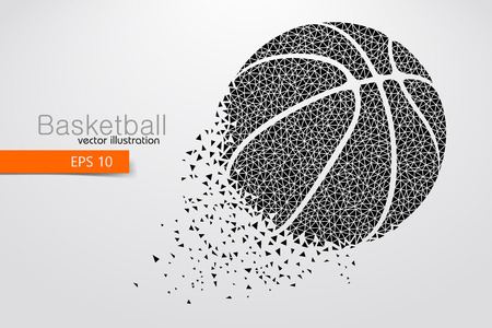 changed: Silhouette of a basketball ball from triangles. Background and text on a separate layer, color can be changed in one click Illustration