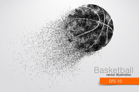 Silhouette of a basketball ball from particles. Background and text on a separate layer, color can be changed in one click Vettoriali