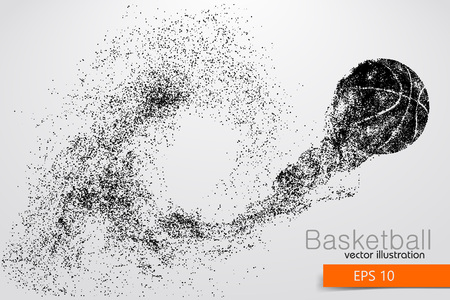 Silhouette of a basketball ball from particles. Background and text on a separate layer, color can be changed in one click Ilustração