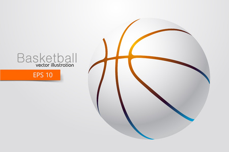 Silhouette of a basketball ball. Background and text on a separate layer, color can be changed in one click Illustration