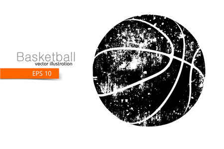changed: Silhouette of a basketball ball. Background and text on a separate layer, color can be changed in one click Illustration