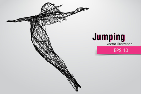 changed: Silhouette of a jumping girl. Text and background on a separate layer, color can be changed in one click. Illustration