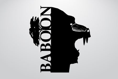 Silhouette of a baboon. Background and text on a separate layer, color can be changed in one click.