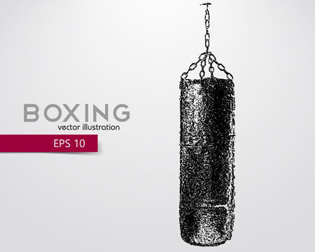 Punching bag from particles. Background and text on a separate layer, color can be changed in one click. Boxer. Boxing. Boxer silhouette 向量圖像