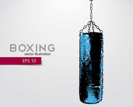 punching: Punching bag silhouette. Background and text on a separate layer, color can be changed in one click. Boxer. Boxing. Punching bag silhouette