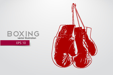 Boxing gloves silhouette. Background and text on a separate layer, color can be changed in one click. Boxer. Boxing. Boxer silhouette