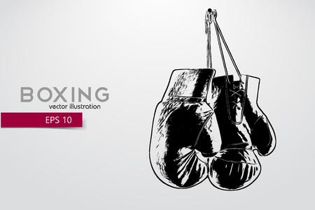 Bokshandschoenen silhouet. Achtergrond en tekst op een aparte laag, kleur kan met één klik worden gewijzigd. Bokser. Boxing. Boxersilhouet