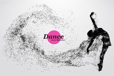 Silhouette di una ballerina di particelle. Sfondo e il testo su un livello separato, colore può essere cambiato in un solo click. Vettoriali
