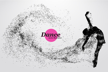 Silhouette of a dancing girl of particle. Background and text on a separate layer, color can be changed in one click.