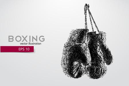 Bokshandschoenen van deeltjes. Achtergrond en tekst op een aparte laag, kleur kan met één klik worden gewijzigd. Bokser. Boxing. Boxersilhouet Stock Illustratie