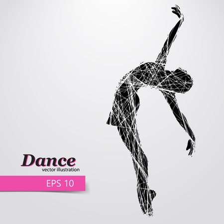 Silhouette of a dancing girl. Background and text on a separate layer, color can be changed in one click. Stok Fotoğraf - 69115235