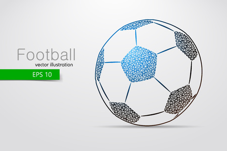 silhouette of a soccer ball from triangles. Text and background on a separate layer, color can be changed in one click.