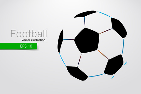 silhouette of a soccer ball. Text and background on a separate layer, color can be changed in one click. Illustration