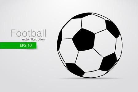 silhouet van een voetbal. Tekst en achtergrond op een aparte laag, kleur kan worden veranderd in een klik.