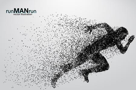 Schattenbild eines laufenden Mannes von den Partikeln. Text und Hintergrund auf einer separaten Ebene, Farbe kann mit einem Klick geändert werden.