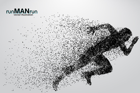 Silhouette of a running man from particles. Text and background on a separate layer, color can be changed in one click.