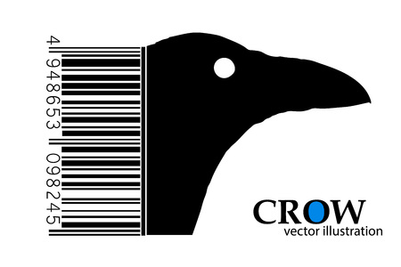 corvus: Silhouette of a crow. Background and text on a separate layer, color can be changed in one click.