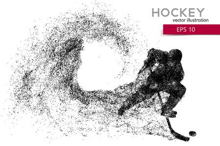 silhouette d'un joueur de hockey à partir de particules. Fond et texte sur un calque séparé, la couleur peut être changée en un clic.