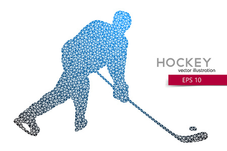 silhouette of a hockey player from triangles. Background and text on a separate layer, color can be changed in one click.