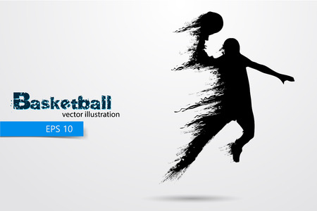 Silhouette of a basketball player. Background and text on a separate layer, color can be changed in one click. Vector illustration