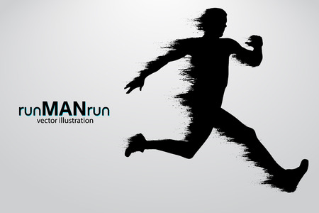 Silhouette of a running man. Text and background on a separate layer, color can be changed in one click. Vector illustration Illustration