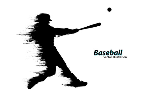 Silhouette of a baseball player. Vector illustration