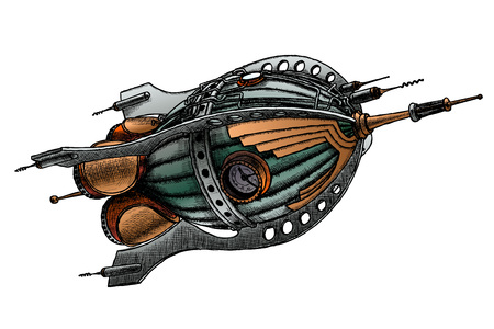 steampunk rocket. Vector illustration