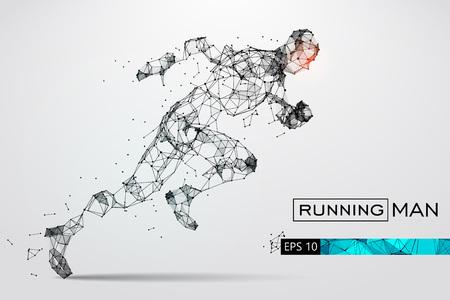 粒子から走っている男の人のシルエット。ベクトル図