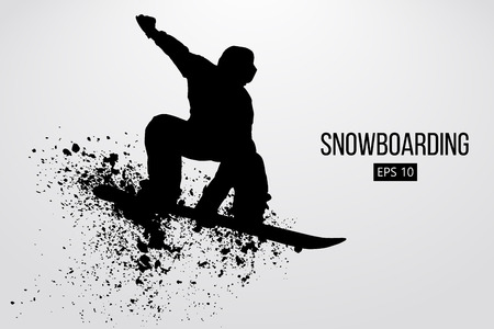Silhouette of a snowboarder jumping isolated. Vector illustration Фото со стока - 74727840
