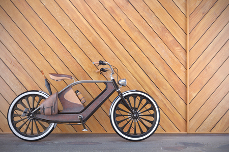 Old vintage bicycle. Steampunk style. Near the wall. 3d render