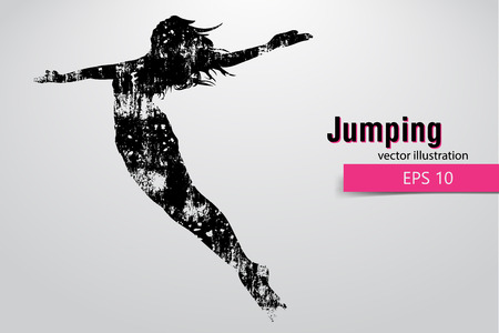 Silhouette of a jumping girl.