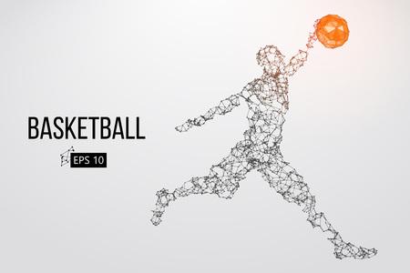 Silhouet van een basketbalspeler. Vector illustratie