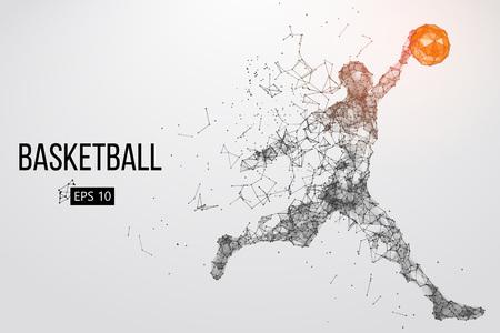 Schattenbild eines Basketball-Spielers. Standard-Bild - 76497361